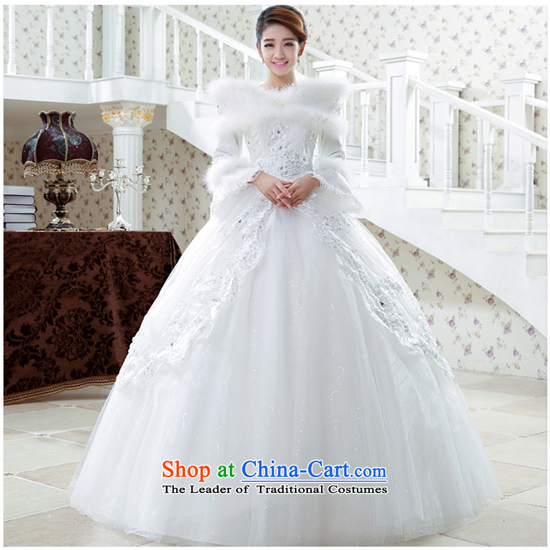 Wedding dress 2015 new winter Korean graphics to align the Sau San thin marriages wedding long-sleeved thick winter clothing?made of white XXXL does not allow