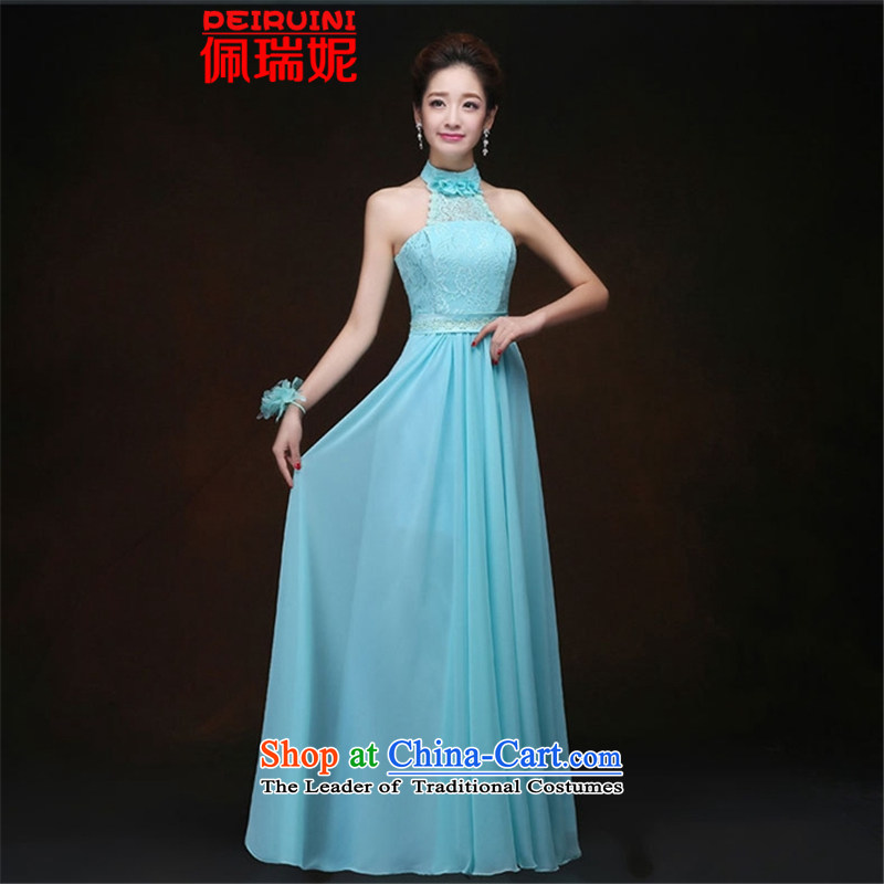 Pei, Connie?2015 New Women's Long Chest long dresses and dresses winter ice blue B M