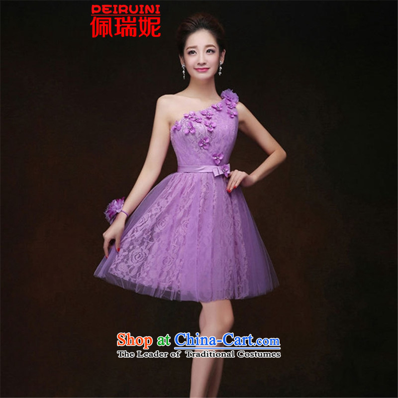 Pei, Connie?lifting strap must hang 2015 lace bridesmaid skirt short of dress dresses winter purple B XXL