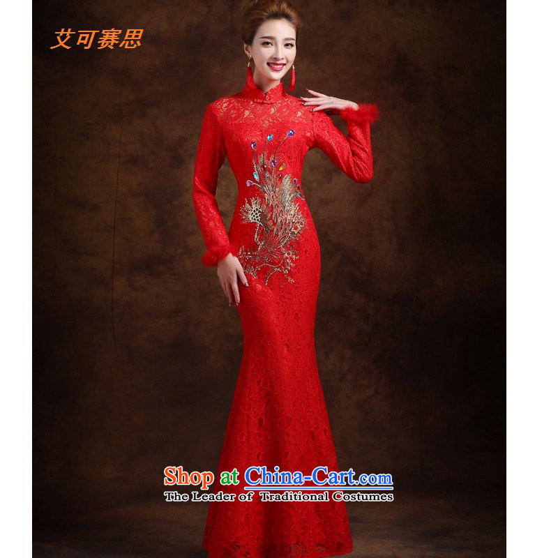 2015 New Red bows services plush long-sleeved marriages cheongsam classical long thick crowsfoot dress RED�M
