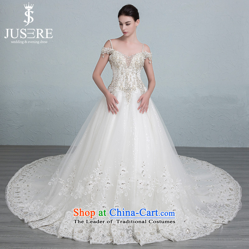 Is the word glittering Grand Palace shoulder trailing white diamond wedding tailored