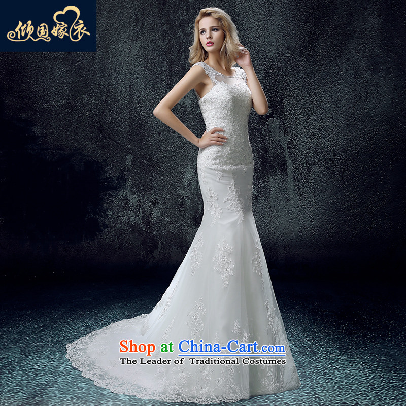 The bride wedding dresses new summer 2015 Sau San Korean word long-sleeved shoulder tail crowsfoot wedding of autumn and winter female white L