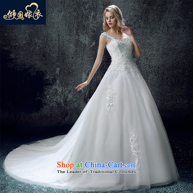 The bride wedding dress autumn Sau San tie bride crowsfoot marriage wedding tail shoulders a field shoulder dress skirt white XS