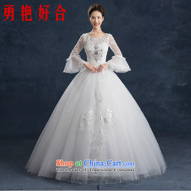 Yong-yeon and wedding dresses 2015 new autumn and winter won with minimalist bride large graphics to align the Sau San thin long-sleeved shoulders wedding made no size White Replacement