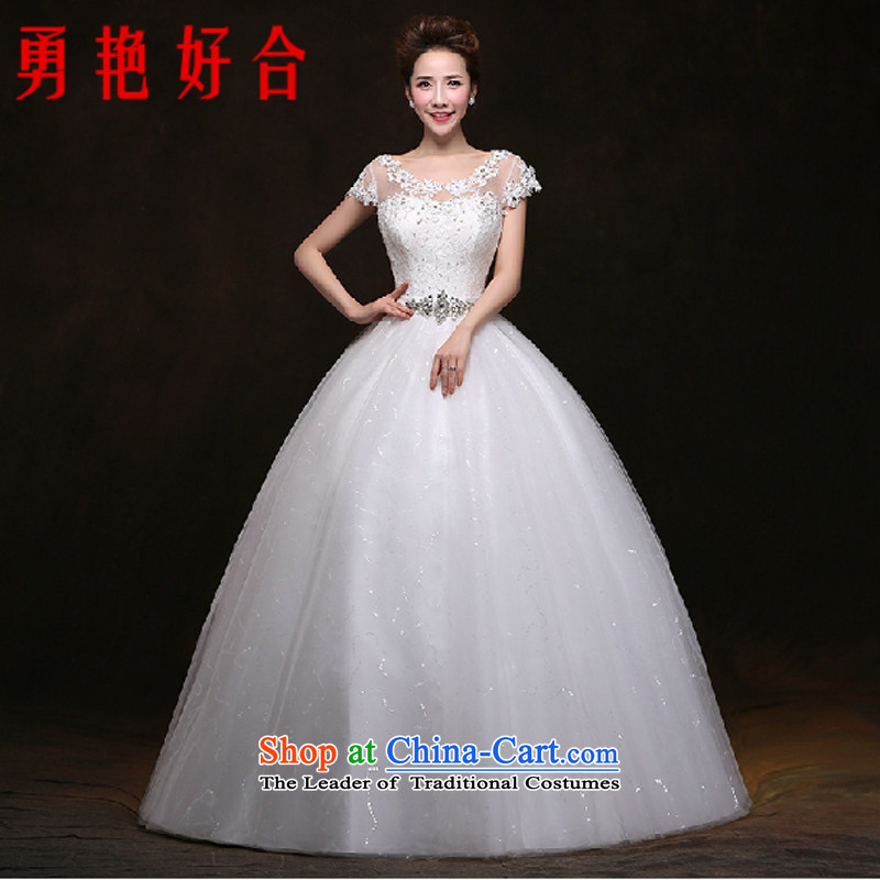 Yong-yeon and wedding dresses new 2014 winter bride wedding dress Korean fashion the word   your shoulders to wedding White�XL
