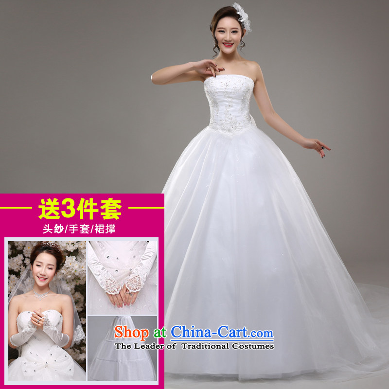 Tim hates makeup and wedding dresses new 2015 Korean brides wiping the chest long tail marriage video thin lace of autumn and winter Sau San larger tail wedding dresses HS02 White聽XXL