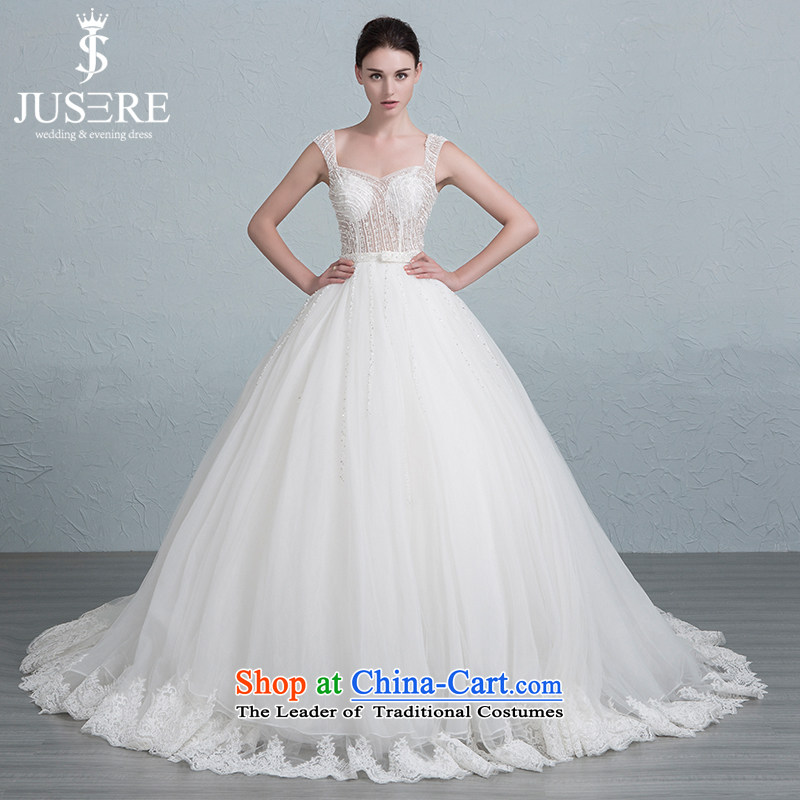 There is a mist of new wedding dresses shoulders small trailing lace bind bon bon skirt White?4 code