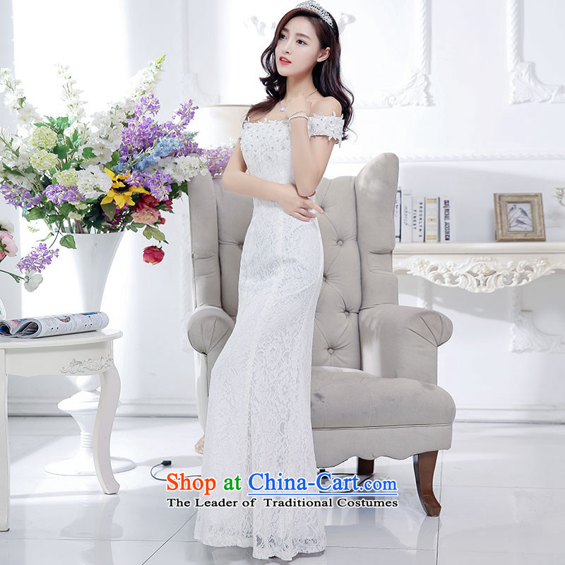 Kim Man sa�2015 new marriages a field shoulder dress bows services evening dresses Sau San long wedding white�L