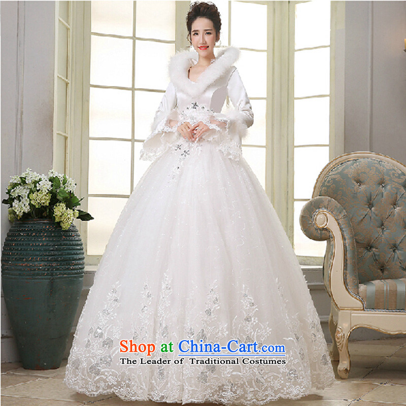 2015 new thick winter clothing wedding dresses marriages winter wedding long-sleeved winter, lace Sau San Wedding White聽XL
