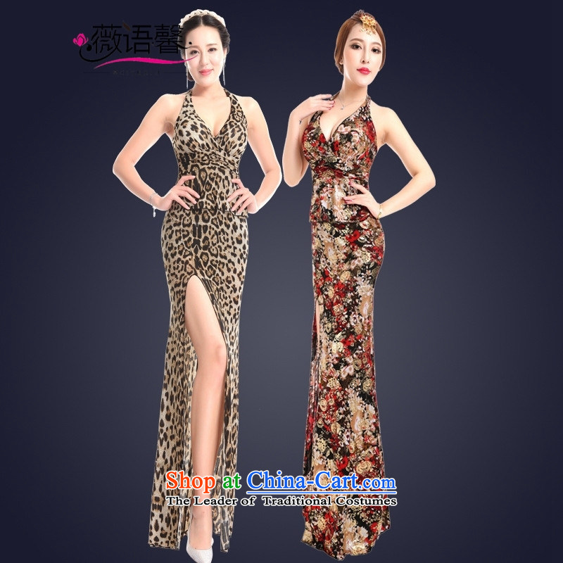 Optimize fruit shop summer sexy bell women's dresses cheongsam dress long bows sauna hotel work will leopard?XL