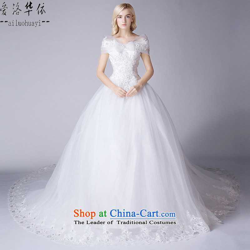 2015 Autumn and winter new Korean word   tail bride shoulder wedding dresses to align the white wedding gown irrepressible Korean brides wedding dress bride large wedding female large white tail聽L