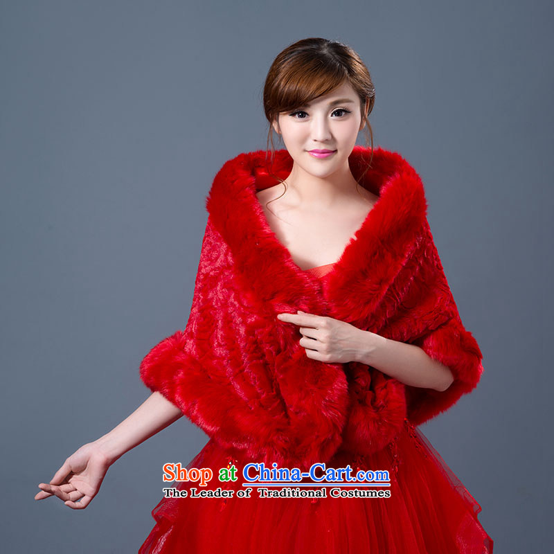 Seal the new president jiang wedding dress shawl winter marriages shawl bridesmaid gross shawl thick Warm White Red