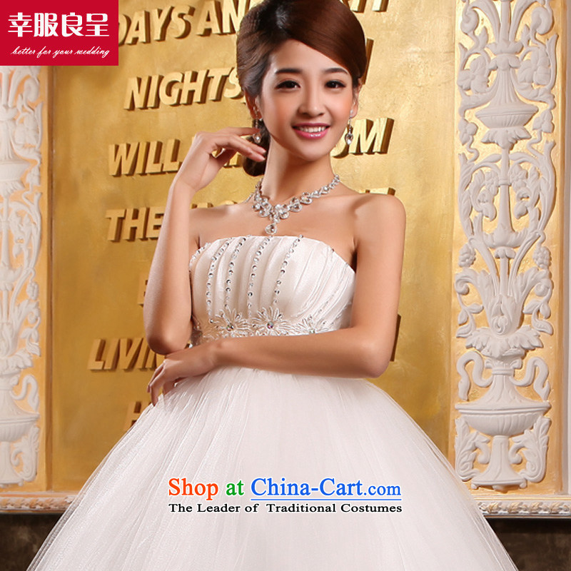 The privilege of serving-leung and chest Wedding 2015 new bride wedding dress white Korean Top Loin of pregnant women to align the wedding dress dress White聽4XL