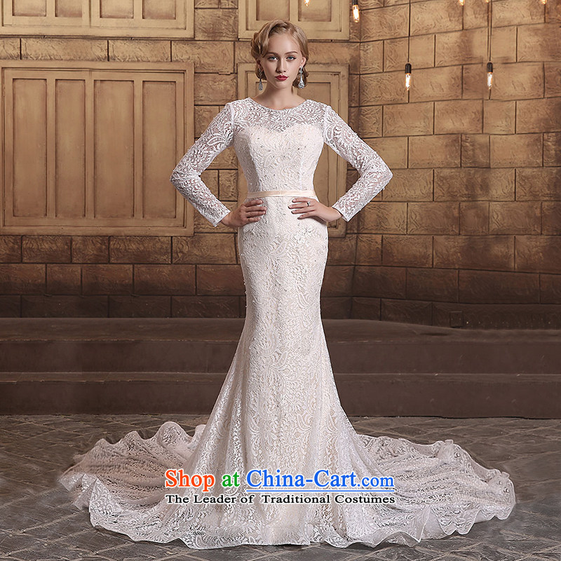 Custom Wedding 2015 dressilyme autumn and winter new retro lace crowsfoot trailing back long, long-sleeved wedding bride wedding dress ivory - no spot?XXXL