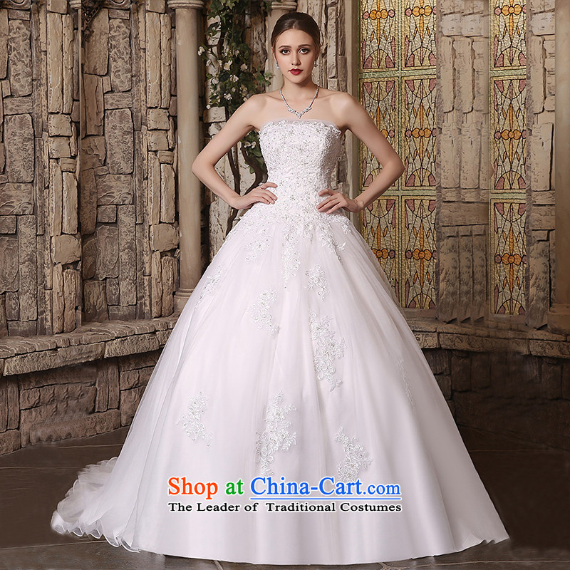 Custom Wedding 2015 dressilyme autumn and winter new anointed chest lace bon bon skirt in waist zipper small trailing wedding bride wedding dress White - No spot tailored