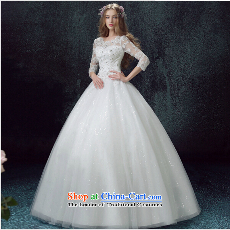 Luxury lace sexy fluoroscopy The Princess Bride in long-sleeved to align the wedding dresses 2015 New Custom White�M