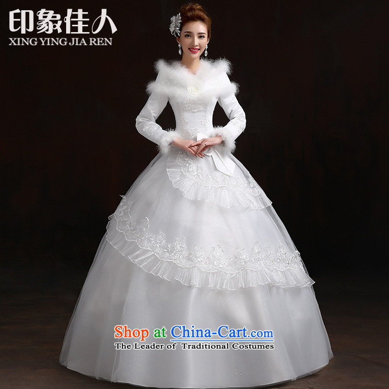 Starring Korean-style impression 2015 new graphics thin winter wedding dress white long-sleeved cotton plus winter autumn and winter for the Korean version of the winter gross) White?M