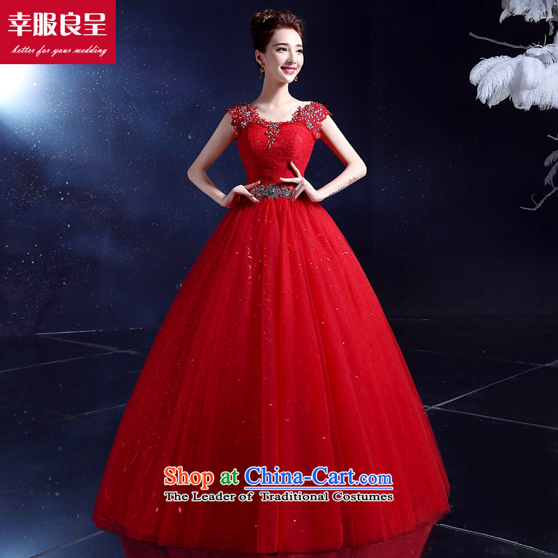 The privilege of serving-leung, Korea wedding dresses marriage toasting champagne 2015 bridal dresses shoulders to align the large number of field shoulder lace Diamond red wedding�XL