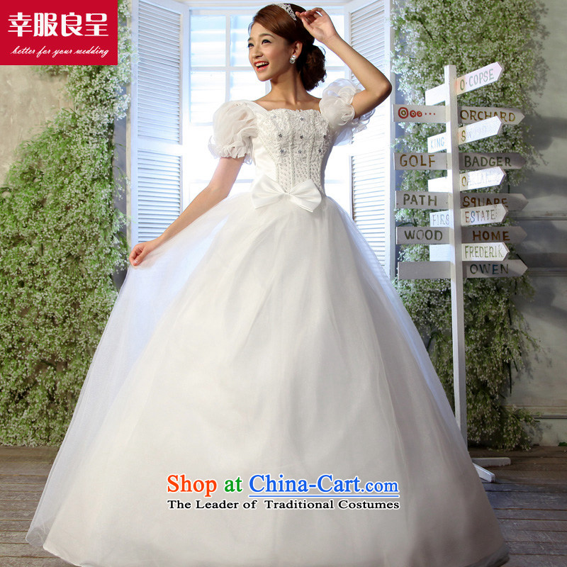 The privilege of serving-leung wedding to align the new bride Korea 2015 Edition Foutune of video thin package shoulder larger mm thick custom wedding dresses?8XL White