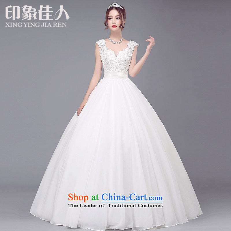 2015 Autumn, starring impression new wedding dresses marriages to align the Korean shoulders in cuff lace v-neck wedding video thin M