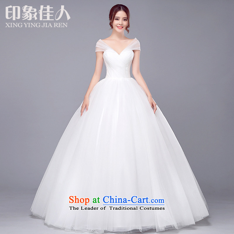 Wedding dress 2015 new Korean marriages large graphics thin pregnant women champagne color word your shoulders to wedding White�M