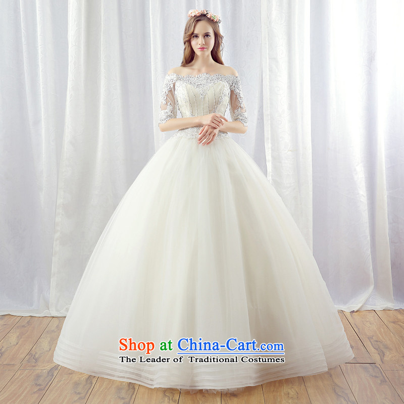 Stephanie _JIAONI_2015 every winter wedding dresses new Korean version of the word in the shoulder cuff to align the bride video thin large wedding light champagne color tailored does not allow for seven days of