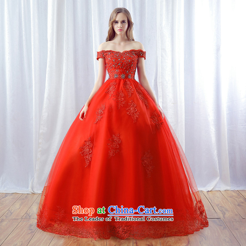 Every word JIAONI) stephanie (your shoulders to wedding dresses 2015 autumn and winter new red marriages water drilling lace skirt red tailored does not allow for seven days of