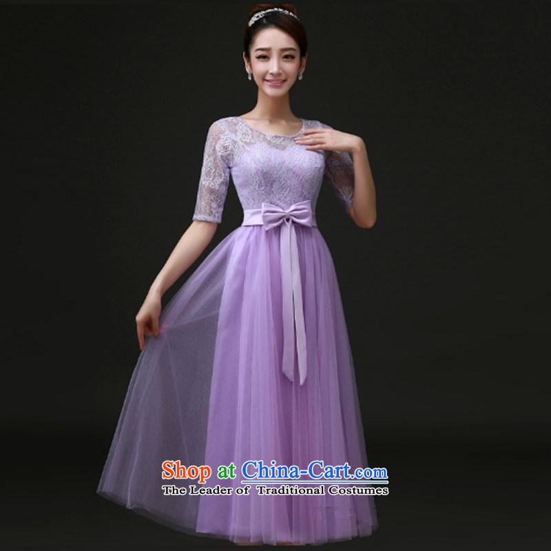 With a Chinese Dress聽spring and summer 2015 new bridesmaid service_ bridesmaid skirt small dress bows service bridal dresses marriage evening dresses purple聽S