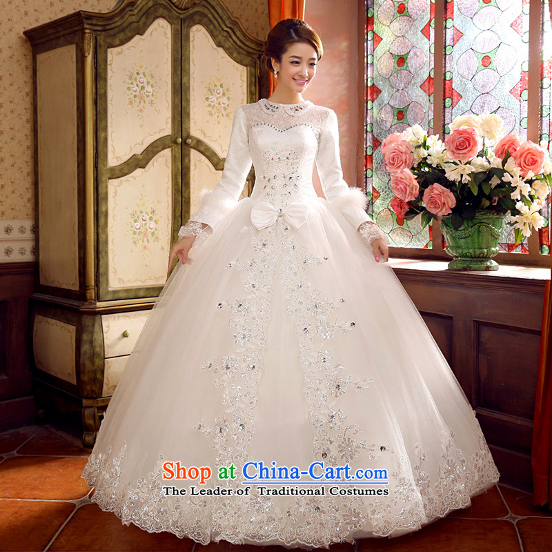 Autumn and winter wedding dresses 2015 Winter, new long-sleeved winter winter clothing marriages warm thick white cotton plus?L