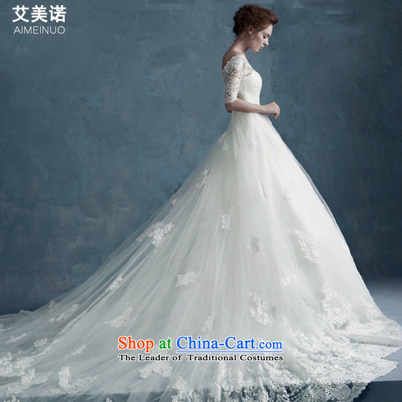 Maximum tail wedding dresses married women 2015 wedding lace palace high-end wedding word shoulder lace long-sleeved winter new graphics thin tail Sau San, 1.5 M聽L code