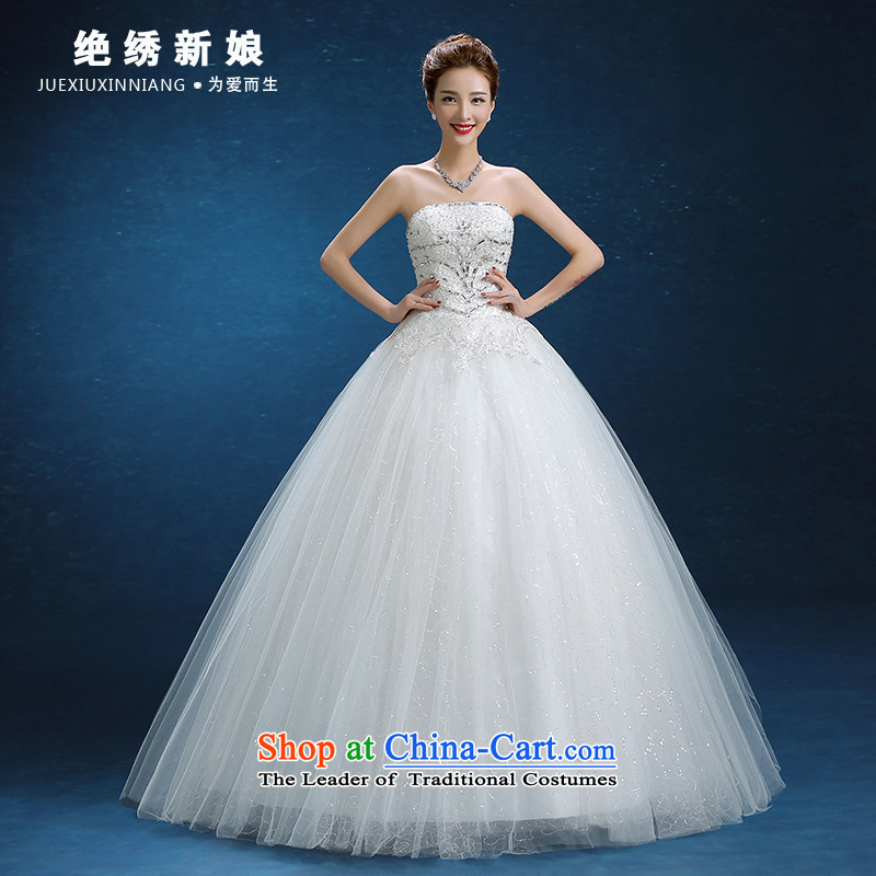 Wedding dress 2015 autumn and winter new Korean style of diamond ornaments with chest code graphics thin marriages to align the strap wedding White M