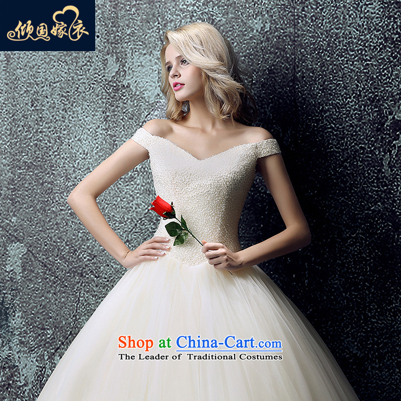 Wedding dress 2015 new Korean brides large graphics to align the thin shoulders the word wedding shoulder tail of autumn and winter champagne color聽S
