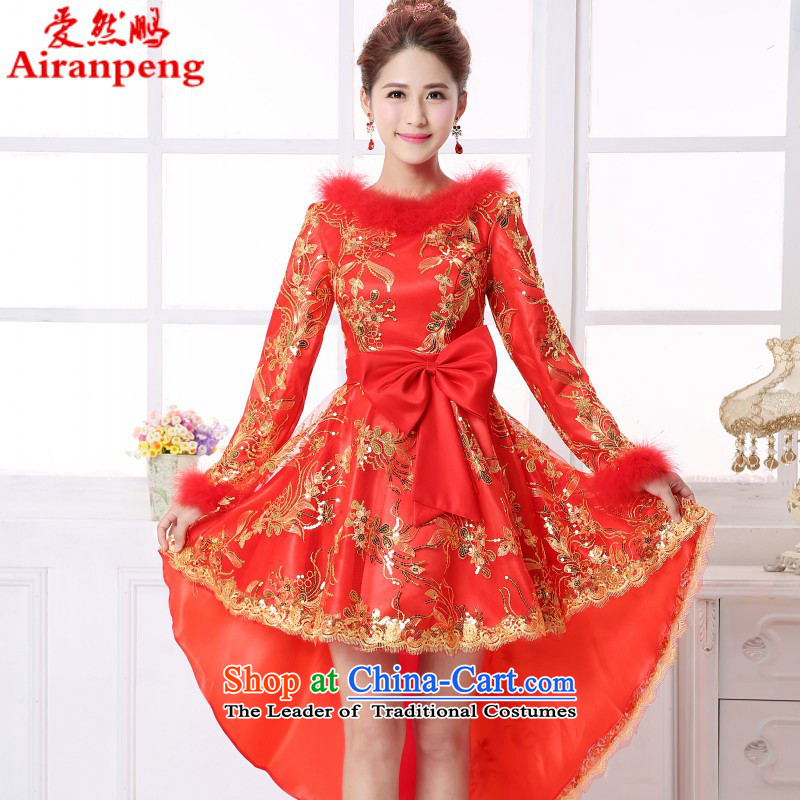 Winter wedding dress bride bows long service large red stylish pregnant women banquet dinner dress Top Loin?XXXL need to do not support returning