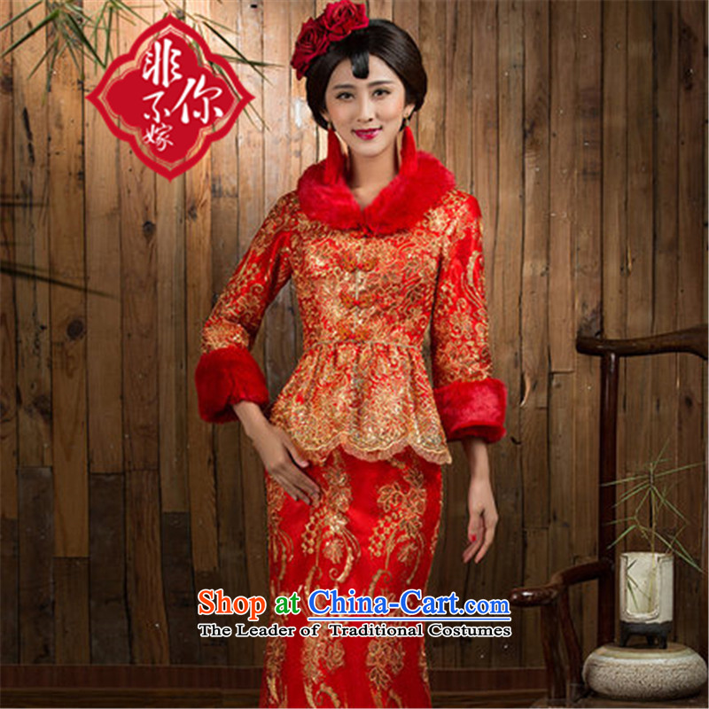 You do not marry non-Service 2015 new bows winter Red、Qipao Length of the bride bows service wedding dress folder_ red cotton?XL