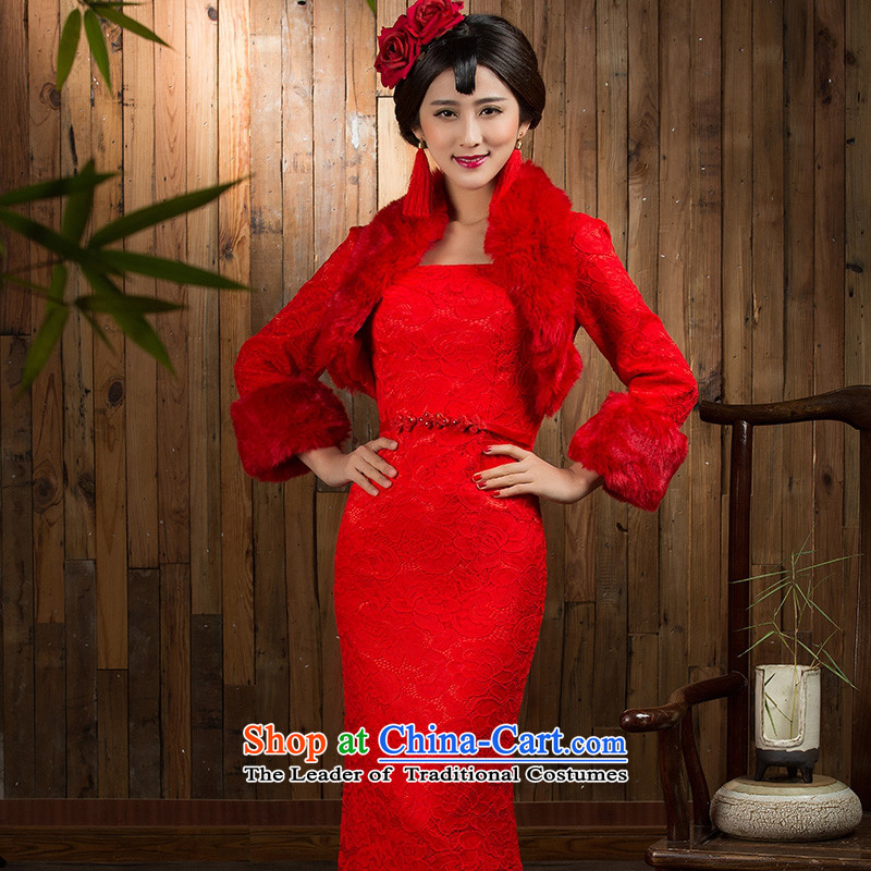You do not marry non-bride bows services red qipao new 2015 autumn and winter long-sleeved long skirt wedding dress bride red�S