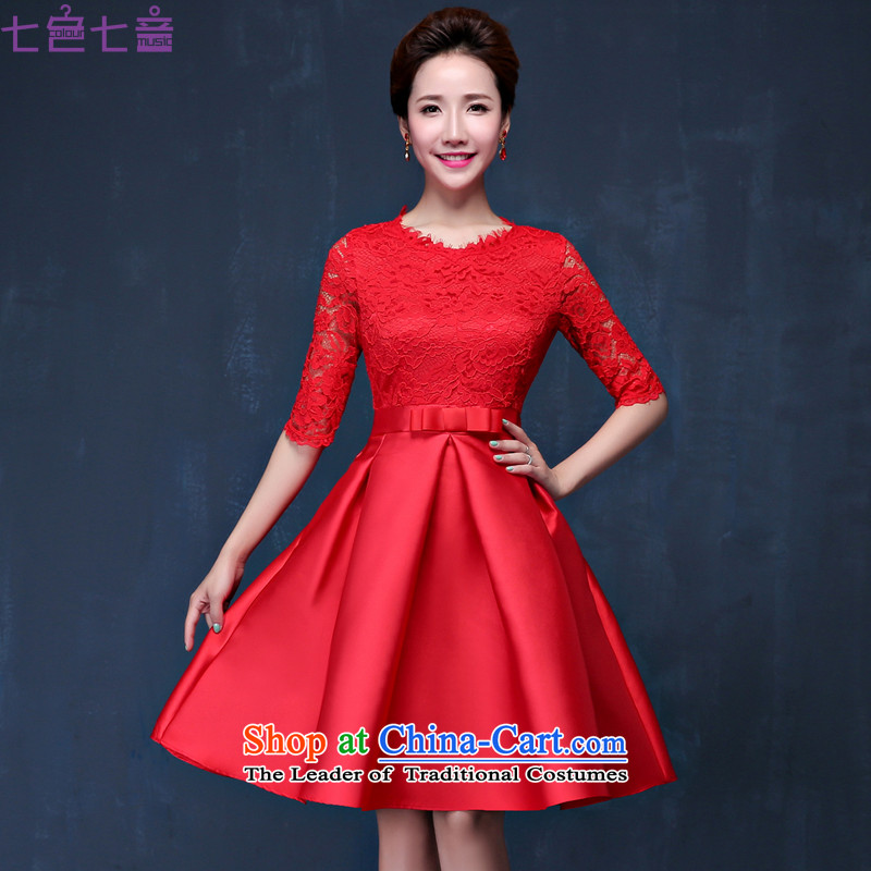 7 7 color tone�2015 new bridesmaid bridal dresses marriage Chinese bows service stylish cheongsam dress winter�L063�red tailored (does not allow)