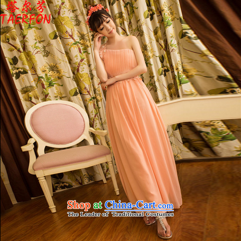 Stephen,?2015 New Sweet temperament OL banquet bridesmaid dress marriage Beveled Shoulder long skirt dresses female pink?M