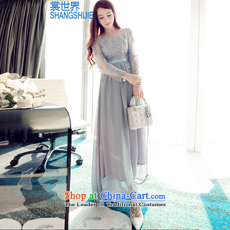 The Advisory Committee world autumn and winter heavy industry embroidery on chip beaded dresses long-sleeved gown skirt 9057-7 Back Light Gray?M