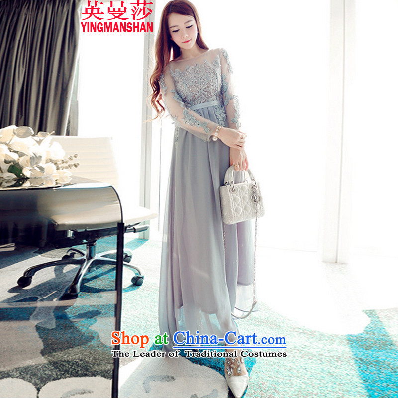 Ingman Elisabeth autumn and winter heavy industry embroidery on chip beaded dresses long-sleeved gown skirt 9057-1 Back Light Gray?L
