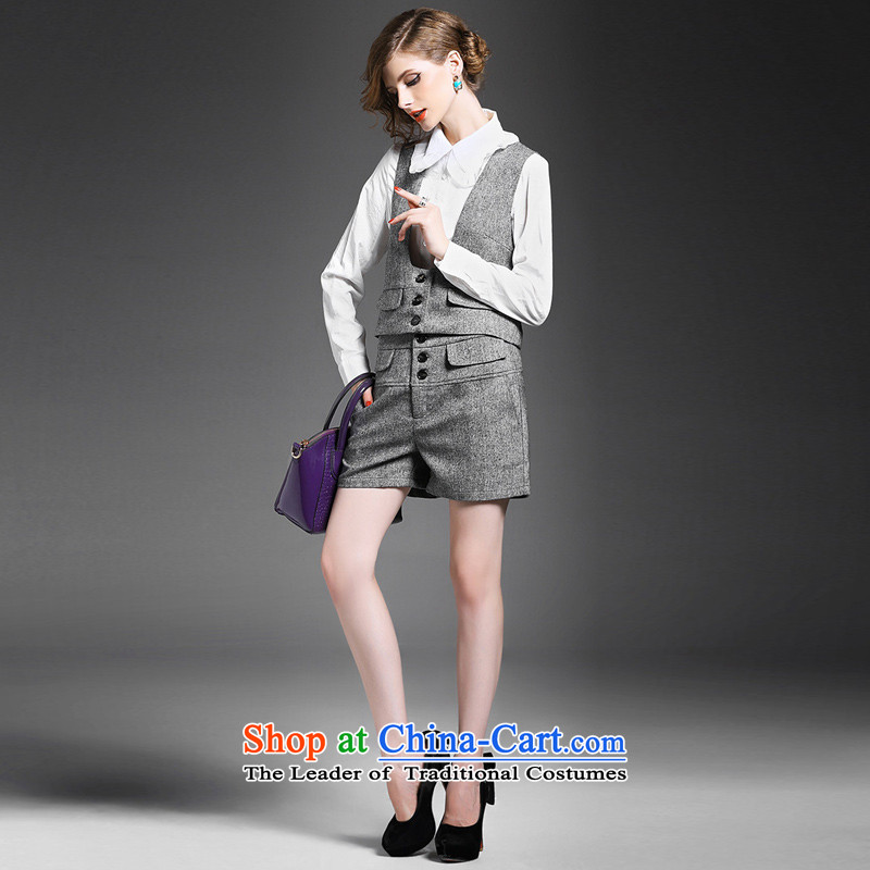 Also, the Fall 2015 new women's stylish lace lapel long-sleeved shirt + sleeveless shorts, a three-piece set with gray XL