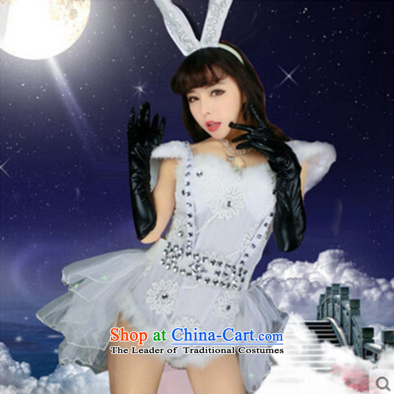 2015 new Rabbit girl Raped By An Angel and sexy on pack DS Night Jazz Dance services for women and girls will replace the rabbit frock coat girls white?L