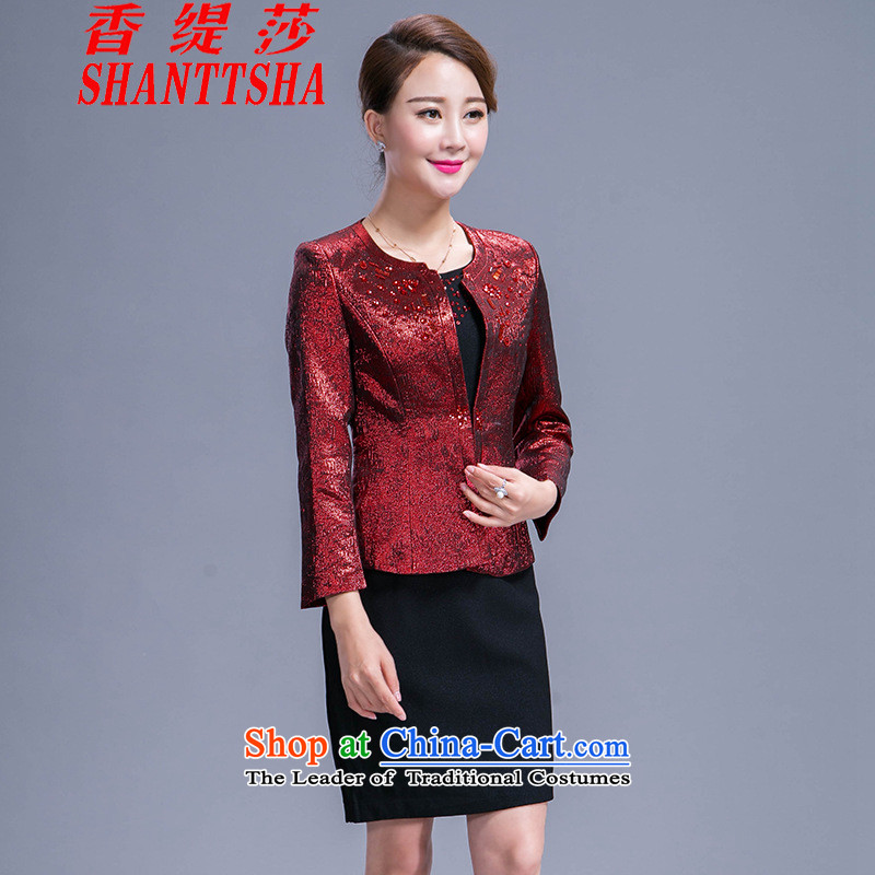 The Hong Sa 2015 New Economy autumn and winter wedding mother with two-piece dresses wine red?L