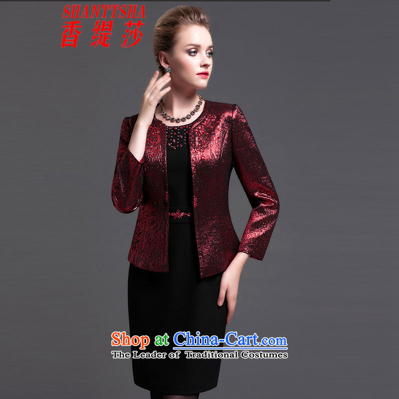 Elizabeth Economy 2015 new scent of the elderly in the skirt temperament larger mother load Sau San Kit Burgundy�2XL(175/96A)