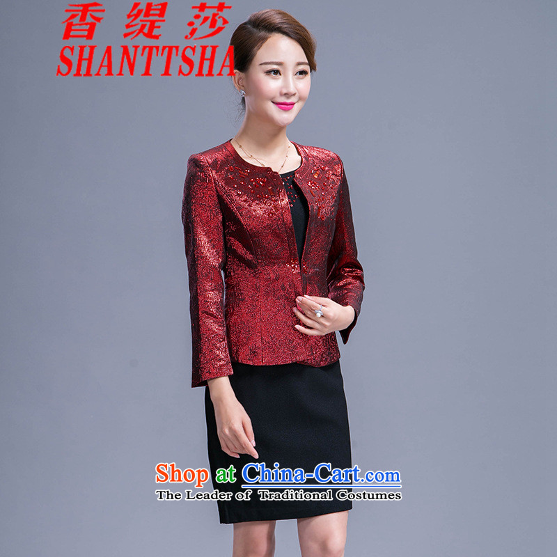 The Hong Sa 2015 New Economy wedding mother with two-piece dresses in older large Sau San Kit wine red?4XL
