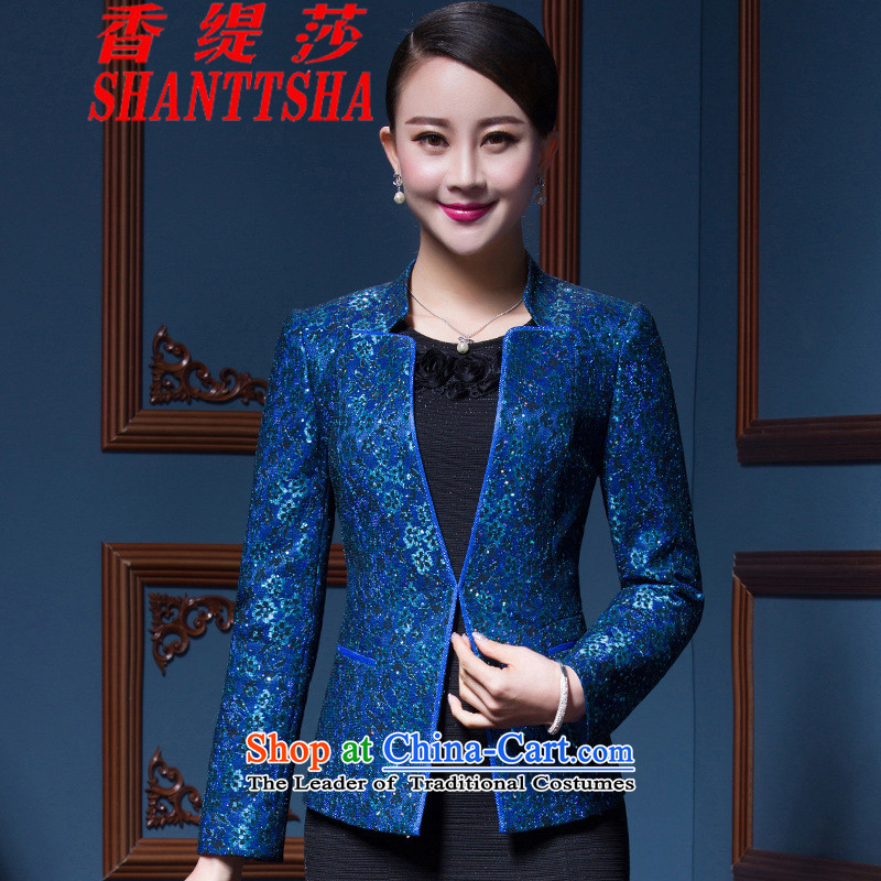 The Hong Sa 2015 New Economy two kits dresses in older dresses temperament Sau San larger women's mother kit blue聽XL
