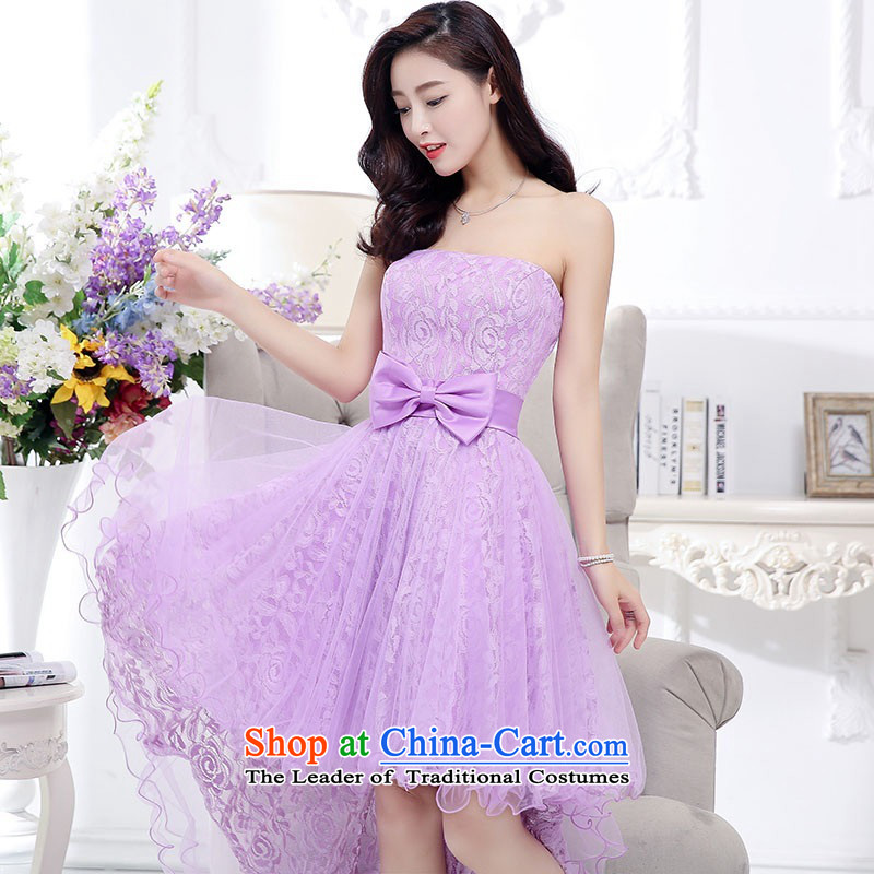 2015 Autumn and Winter, stylish Sau San Foutune Bow Ties With chest lace dresses Bridal Services evening dresses temperament gentlewoman long skirt as Princess skirt sweet bridesmaid services purple?XL