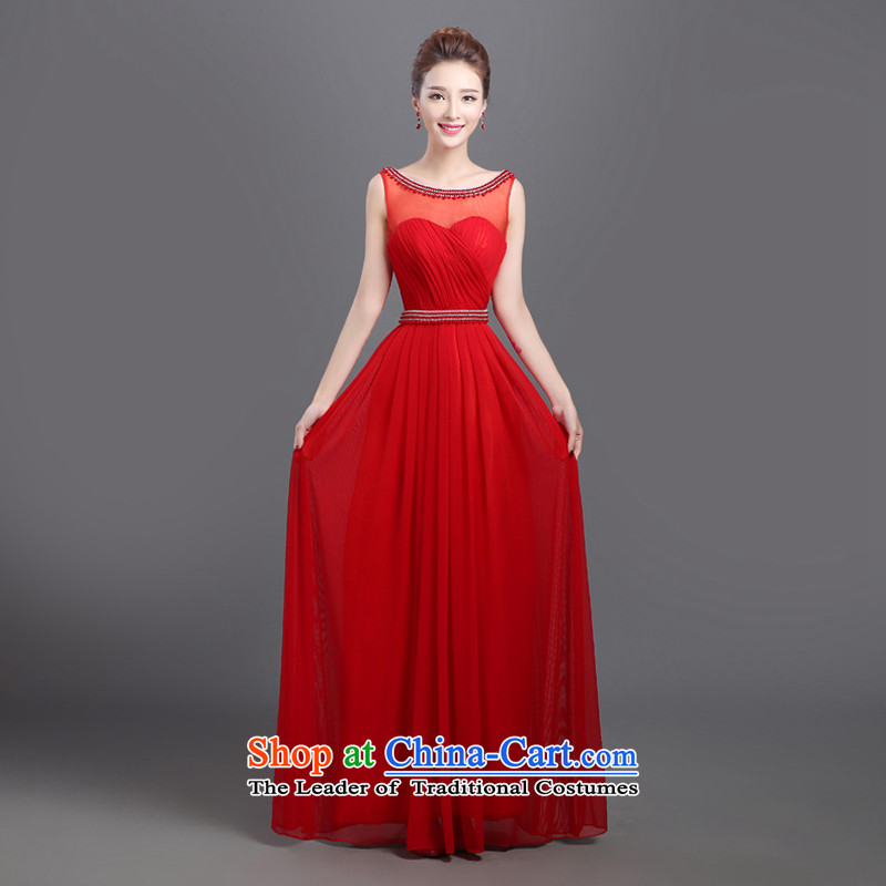 The new bride bows chief 2015_ provides a wedding-dress field shoulder lace banquet red dress red autumn marriage?s