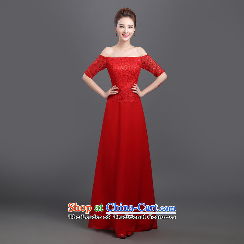 2015 Autumn and winter stylish video new thin red bows to the word marriages shoulder length of Sau San crowsfoot dress red m