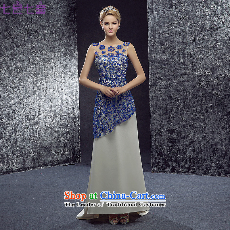 7 7 color tone?2015?evening dresses long crowsfoot Sau San slotted shoulder under the auspices of marriage banquet service bridal dresses?L066 toasting champagne?blue?L