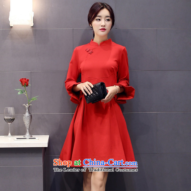The 2015 autumn and winter Ms. New Pure Color China wind dresses minimalist retro style, a Korean word waist skirt Sau San hundreds pleated skirts petals cuff 2 red?XL